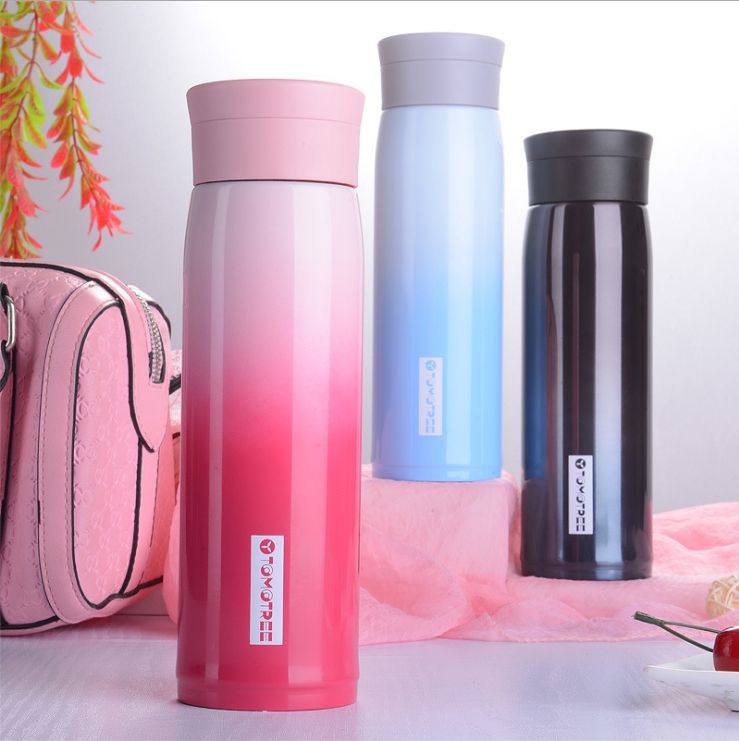 Insulated Thermos Color Changing Sports Bottle Stainless Steel Water Bottle Vacuum Cup