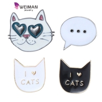 Foreign Trade hot seller high quality cartoon cute cat alloy brooch pin set wholesale