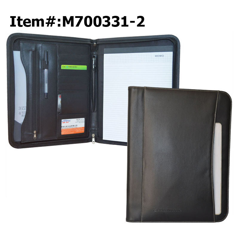 Custom Cheap Business Zipper Art Men's A4 Genuine Leather Portfolio