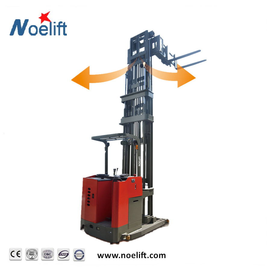 electric folk lift 3-ways forks electric power stacker mini 1000 kg for narrow aisle warehouse tri lateral