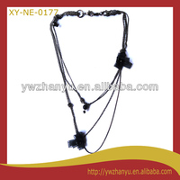 new fashion black fabric flower multi layers chain necklace