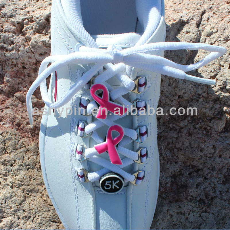 Pink breast cancer ribbon shoelace charm