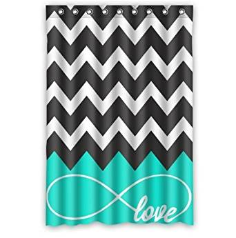 Love Infinity Forever Love Symbol Chevron Pattern Turquoise Black White Waterproof Bathroom Fabric Shower Curtain,Bathroom decor 48