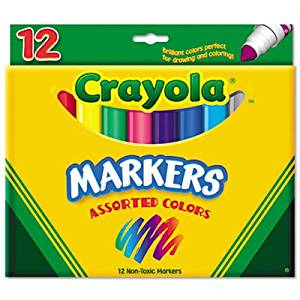Crayola Products - Crayola - Non-Washable Markers, Broad Point, Classic Colors, 12/Set - Sold As 1 Set - An arts and crafts essential. - Classic, long-lasting, durable markers lay down lots of brilliant color, yet don't bleed through. - Water-soluble and water-based ink.