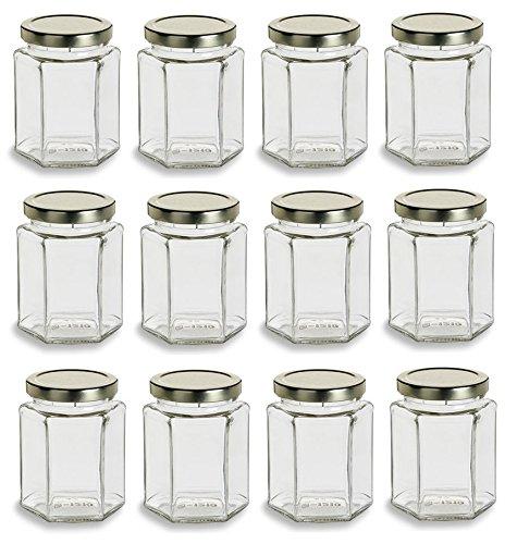 Nakpunar 12 Pcs, 9 Oz Large Hexagon Glass Jars for Jam, Honey, Wedding Favors, Shower Favors, Baby Foods, DIY Magnetic Spice Jars
