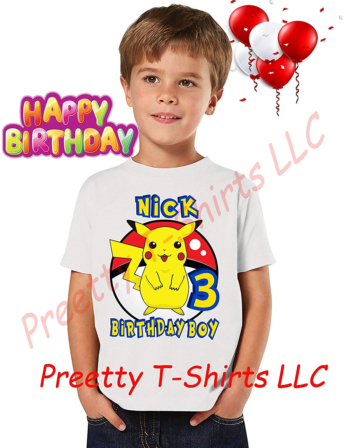 52aee19f3 Get Quotations · FREE SHIPPING, Pokemon Birthday Boy Shirt, Add ANY name &  ANY age, Pikachu