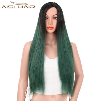 Aisi Hair Hot Selling Long Ombre Green Wigs Wholesale Silky Straight  Synthetic Women Wigs Heat Resistant 7fab08af3e