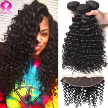 Ali Brazilian Virgin Hair Lace Frontal Closure With Bundles Deep Wave With Closure Meches Bresilienne Lots