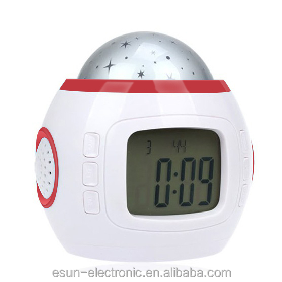 Grande sconto! Star light digital desk proiezione talking alarm clock scrivania musicale orologio con ora e data