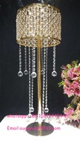 Bling golden wedding table centerpieces hanging crystal in Event & Wedding Supplies