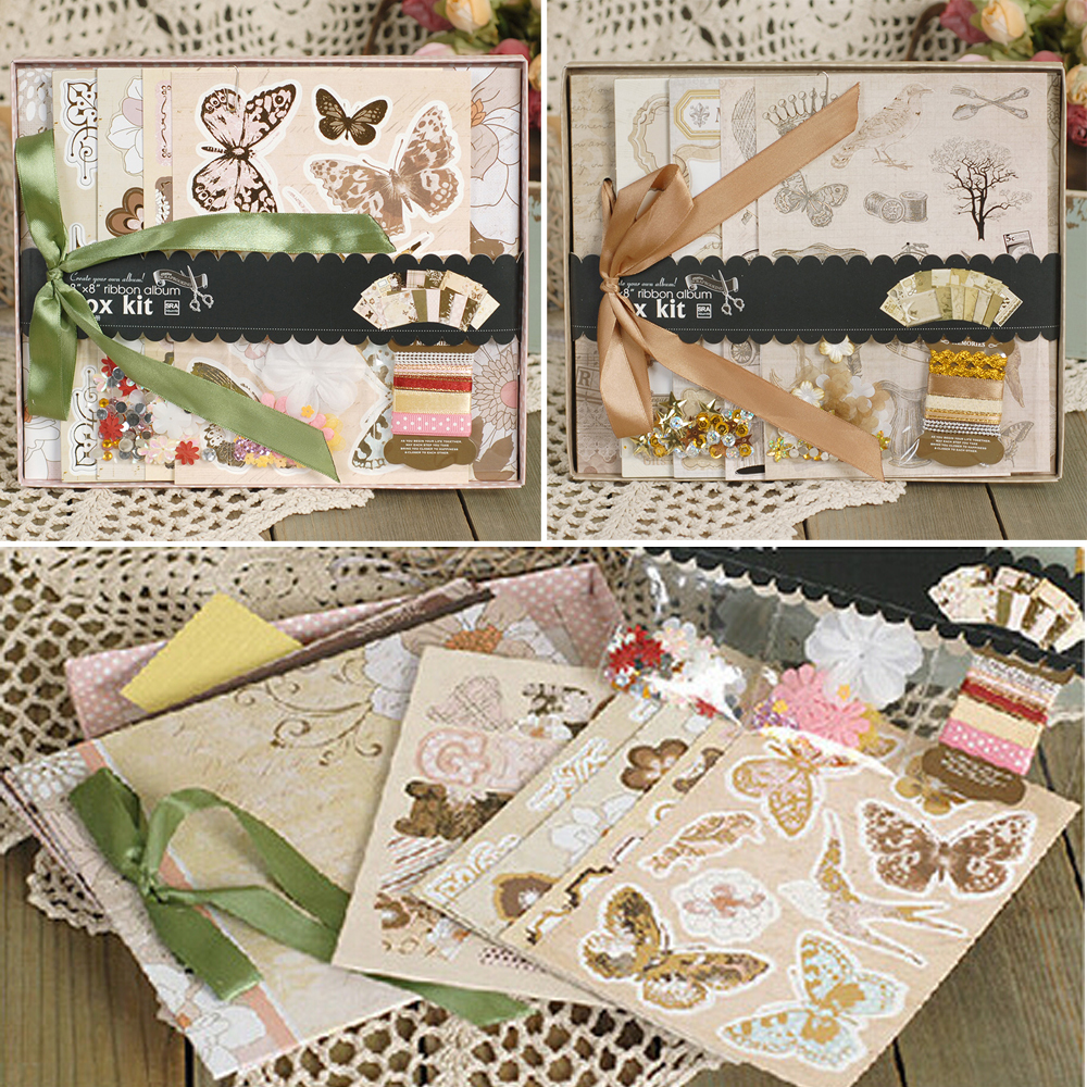 8-Paper-Gift-DIY-Photo-Album-Kit-With-Ribbon-Bow-Create