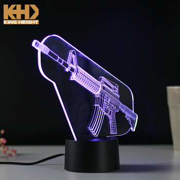KH-NL027 KING HEIGHT Gun Shape Multicolor Changing LED Boys Indoor Switch Children Night Light with Motion Sensor
