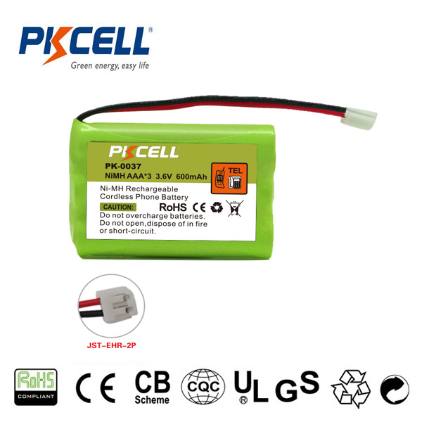 PK-0037 Cordless Phone Battery 3.6V AAA600mAh Rechargeable Battery Pack with Connector