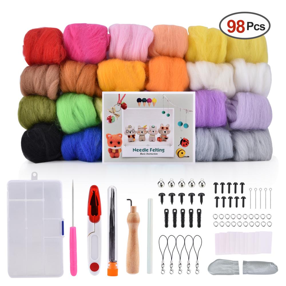 24 couleurs Aiguille Feutrage Laine Fiber De Laine Laine Roving Pour Le Feutrage À L'aiguille Filage À La Main Bricolage Matériaux