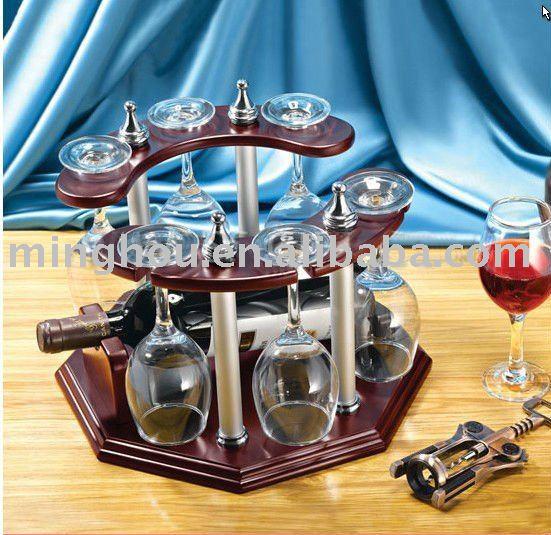 1 bouteille porte bouteille de vin avec support de 6 verres casier vin suspendue seaux. Black Bedroom Furniture Sets. Home Design Ideas