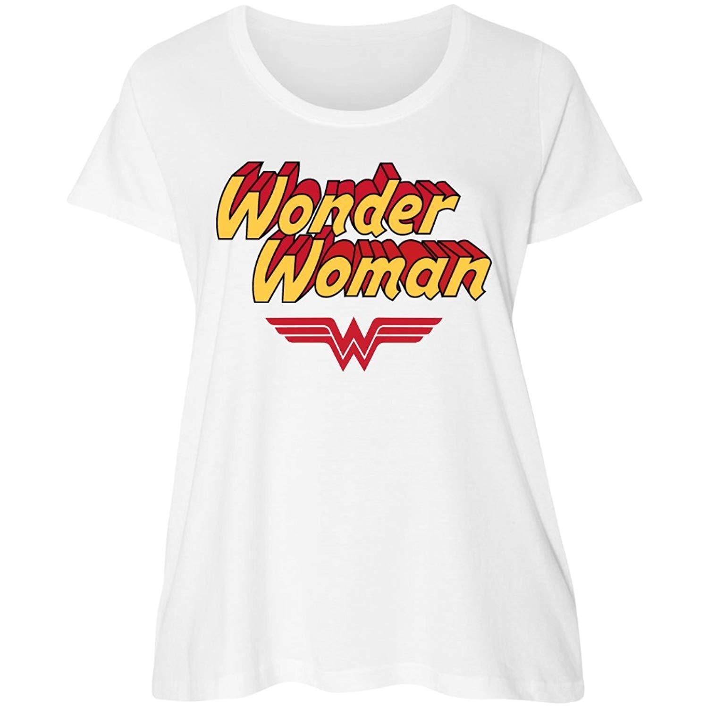63770f70a9735 Get Quotations · Customized Girl Wonder Woman Parody Plus Tee: Women's  Curvy Plus Size Scoopneck T-Shirt