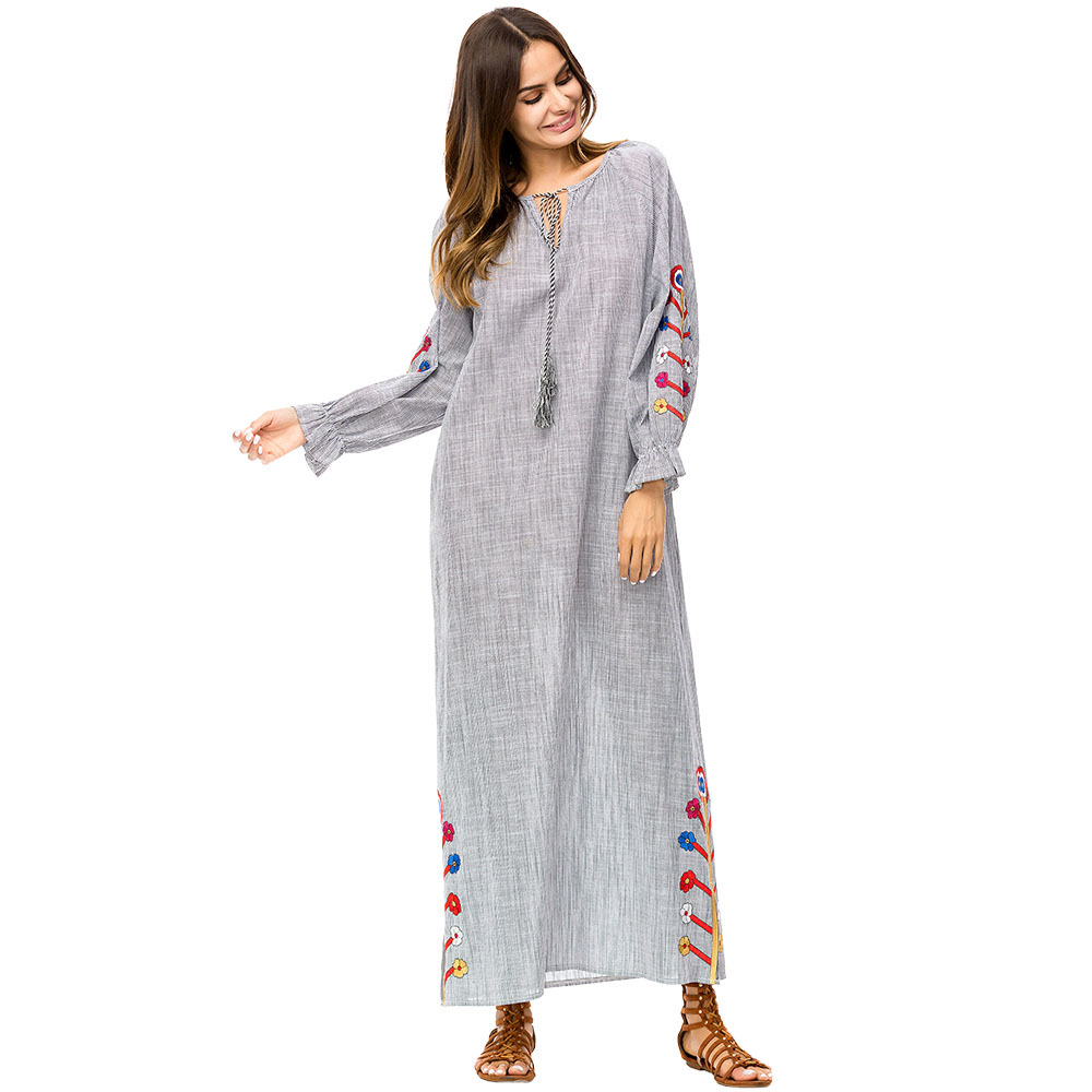 new arrival plus size ankle-length embroidered floral gray muslim dress women