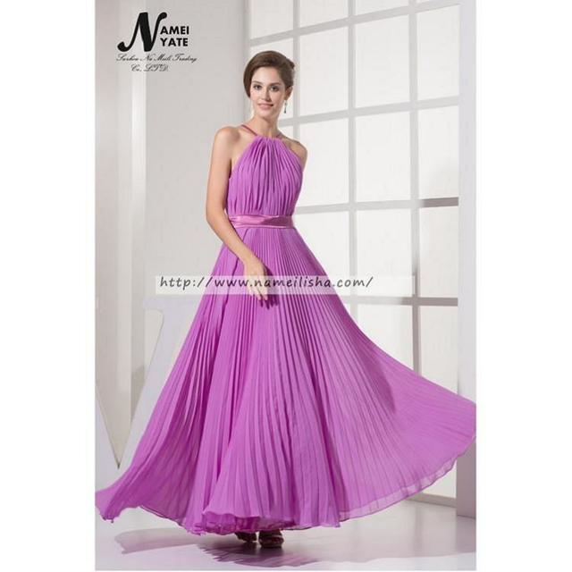 Promoción damas de honor morado vestidos halter de gasa, Compras ...