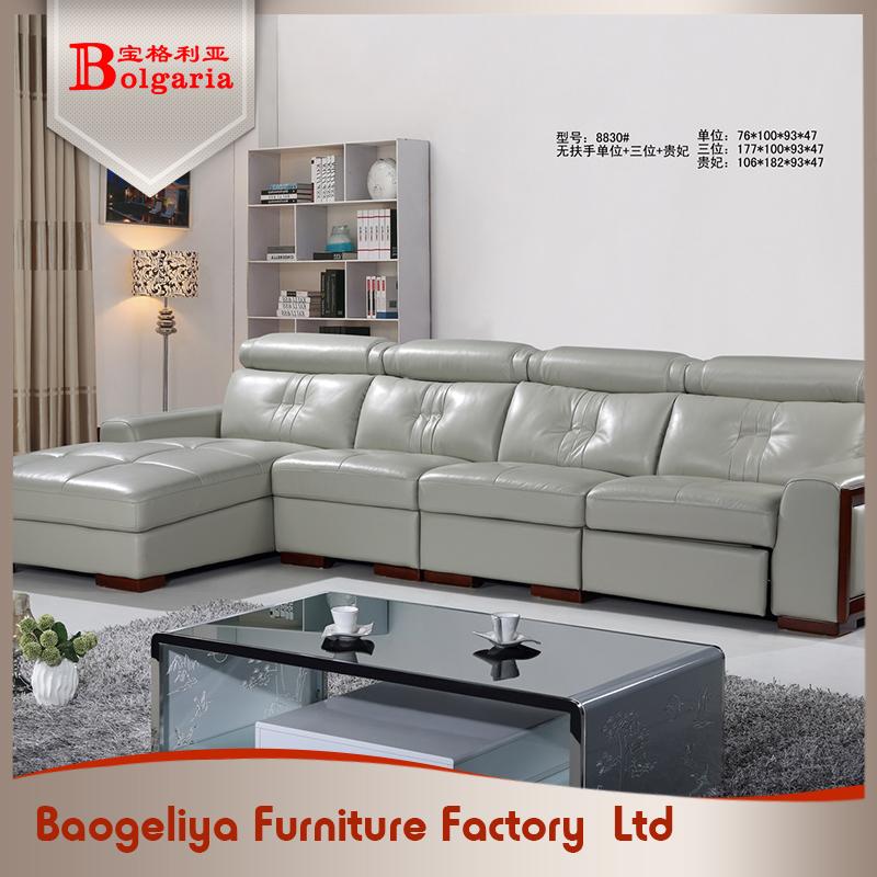 diseo de moda de lujo negro de cuero seccional sof muebles juego de sala en polonia