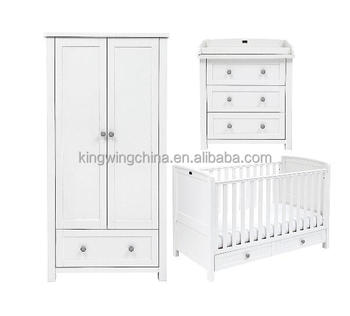 3 Piece Kids White Bedroom Furniture Set (baby Cot Bed/ Chest Of Drawers/  Wardrobe) - Buy Simple Kids Bedroom Furniture Set,Kids Furniture Bedroom ...