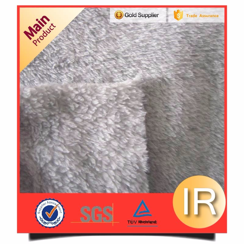 light grey plain super soft polar sherpa fleece fabric