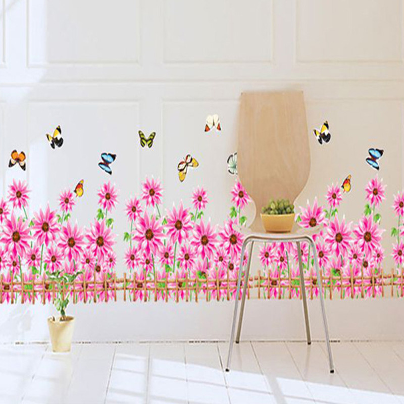 Warm Romantic DIY Removable Wallpaper tulip sunflower Purple Flowers Skirting Line Wall Stickers Wall Decal Home Decor wallpaper