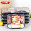 Black large 4-compartment bento lunch box plastic