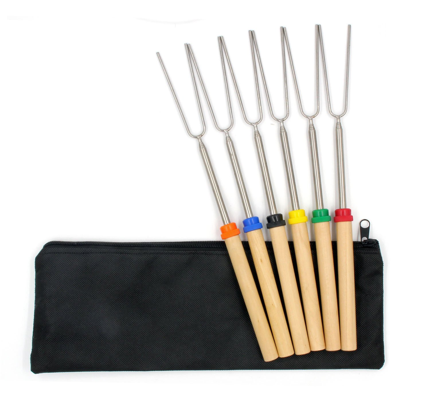 6Pcs Strengthen Marshmallow Roasting Sticks BBQ Skewers for Firepit Hot Dog Maker Camping Grill Bonfire Hotdogs Telescoping Stainless Steel Smores Kit