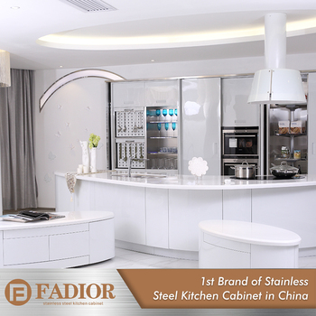 Customized White High Gloss Kitchen Cabinets Cabinet Modern Stainless Steel Outdoor