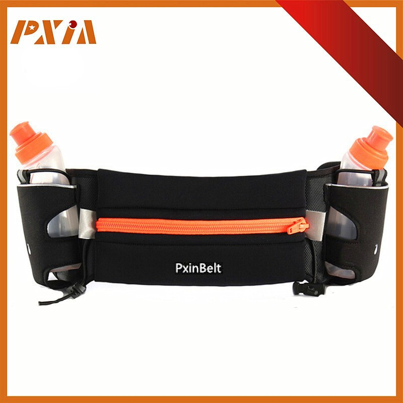 "Hydration Running Belt With 2 Water Bottle Holder - 6.5"" Pouch Fits All Smartphones - Runners Waist Pack Fanny Pack"