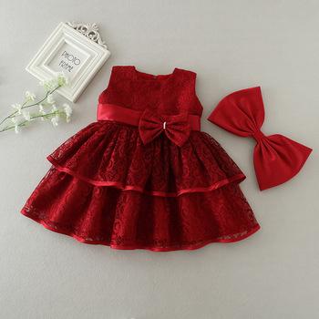 5223c9d57 Vino rojo pastel de capas vestido de fiesta para bebé vestido de las niñas
