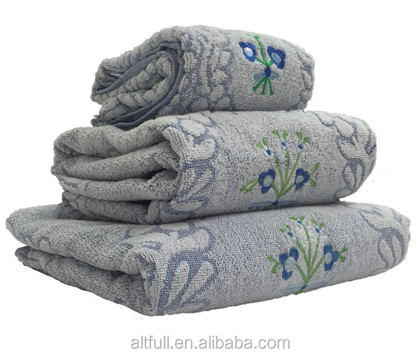 Alibaba Manufacturers 100% Cotton Jacquard Embroidered Bath Towel