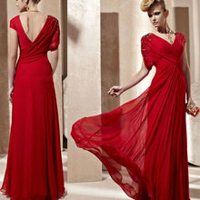 HE0387 red V neckline V back asymmetrical sleeve long chiffon floor length new design cheap elegant dubai evening dress