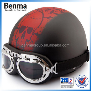 Leather Material Motorbike Helmets With Goggles