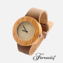 Hot Selling Original Grain Leather Strap Quartz Movt Wood Hand Watch for Men
