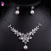 Stylish Cubic Zirconia Necklace and Earring Wedding Jewelry Set with Imitation Pearls in White Gold Plated