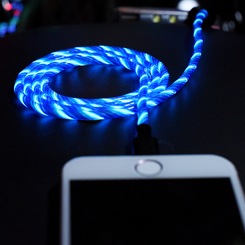 High Quality illuminated Modal El Led Flowing Light Up Android Usb Cell Phone Charger Charging USB Data Cable Cord For iPhone