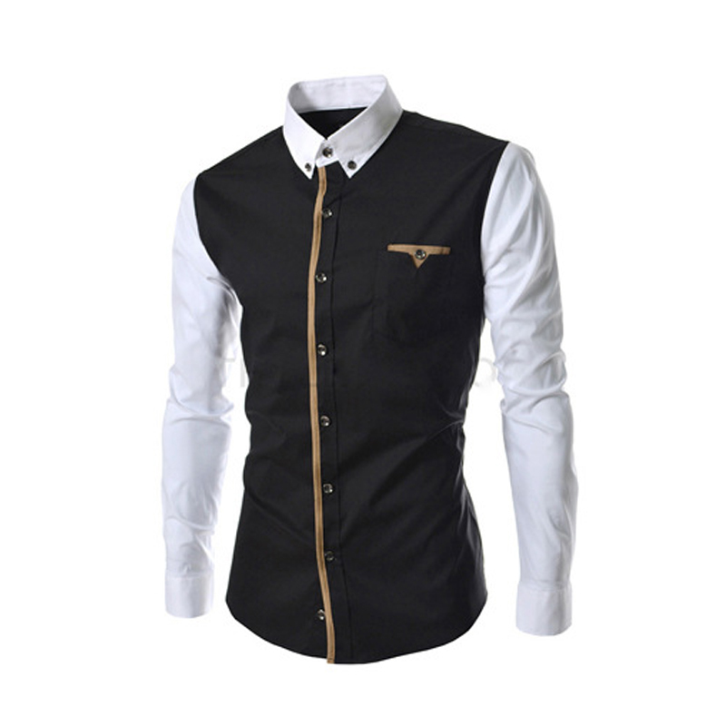 Buy 2015 New Men Shirt Patchwork Casual Long Sleeve Shirt Fashion
