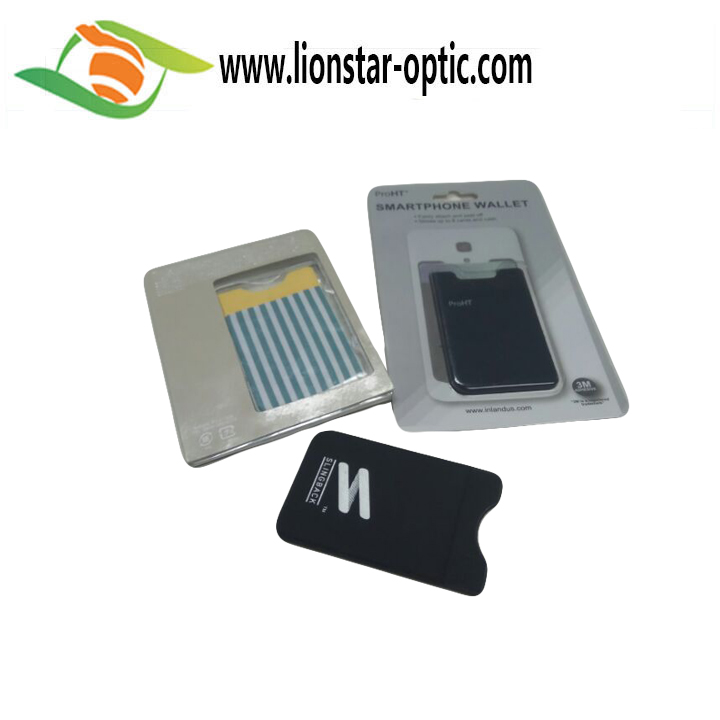 OEM Promotional Gift Printing Customized PVC Cell Phone Sticker,Business Card Holder Lycra Phone Case  Card Wallet
