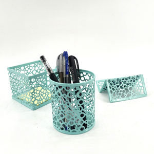 Decorative stationery phone hollder Metal Mesh 3 pcs Office Desk Accessories Set