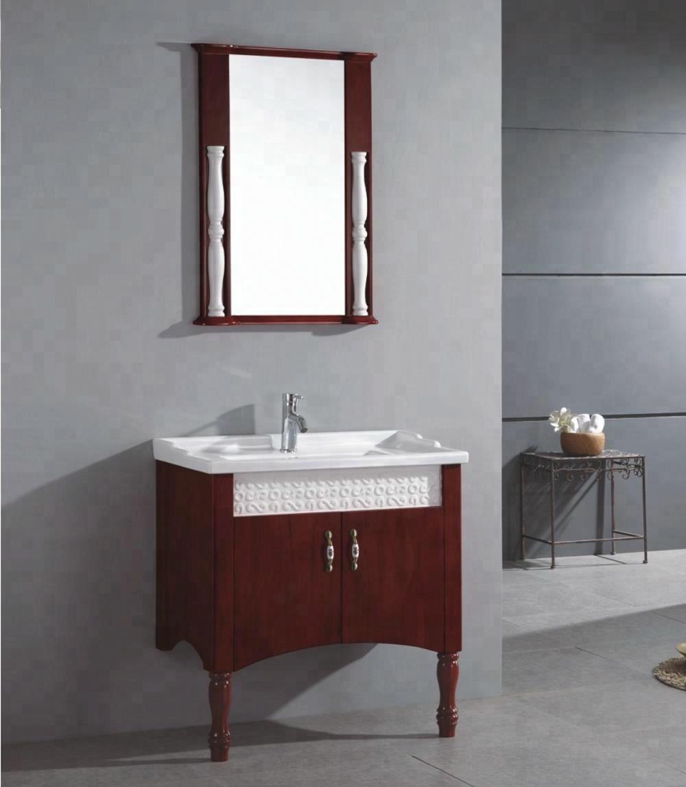 Sanitary Ware Oak Ceramic Base Wash Basin Mirror Cabinet Vintage Bathroom Vanity Sink