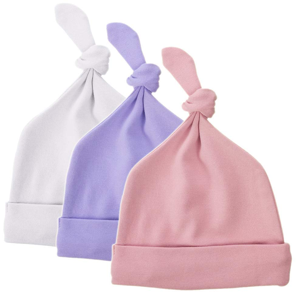 00d04814ee9 Get Quotations · Exemaba Newborn Hat Top Knot Boy Girl - Infant Soft Beanie  Hat Organic Cotton Stretchy Baby