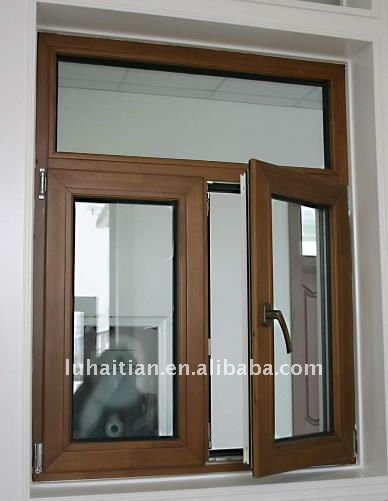 Upvc ventana abatible de madera con aminaci n pel cula for Ventanas de aluminio con marco de madera