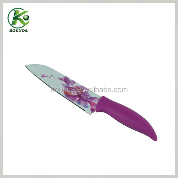 colorful non bâton avec lame de la fleur rose couteau-ustensiles