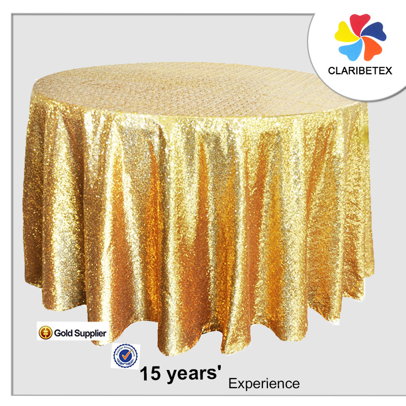 High Quality Claribel Gold Sequin 120 Round Table Cloth For Wedding