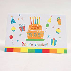 Happy Birthday Invitations Package of 8