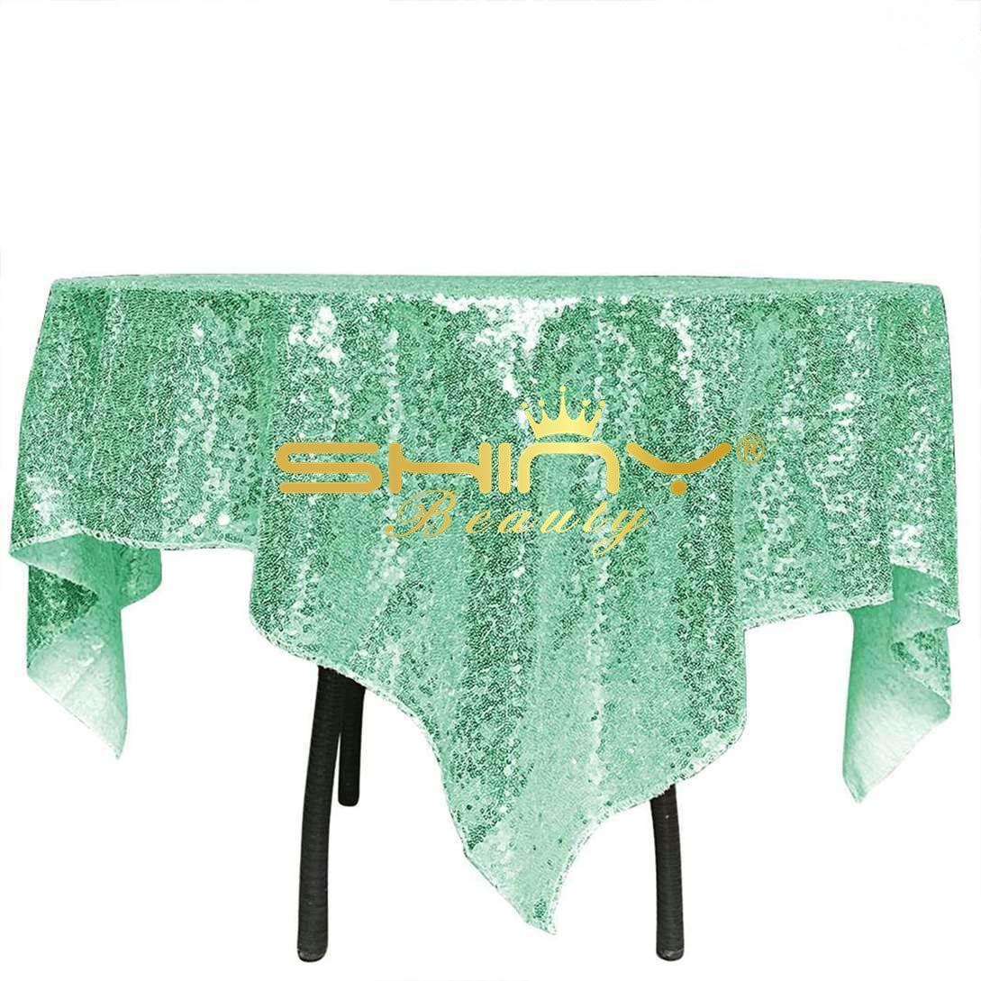 ShinyBeauty Mint Square Sequin Tablecloth 48x48-Inch, Birthday Party Cake Table Overlay Dessert Table Cover Linen
