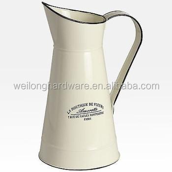 Cream Enamel Metal Jug Large Flower Pitcher Vase Buy Metal Flower