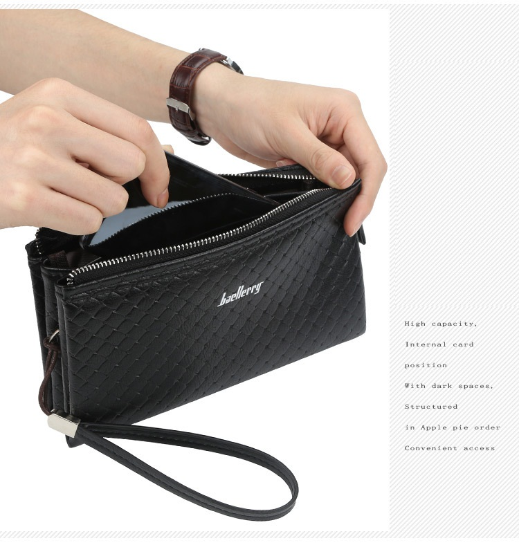 Baellerry 2019 New Style Large capacity Multi-function PU Leather Clutch Wallet For Men,Male Long Phone Bag With Wrist Strap