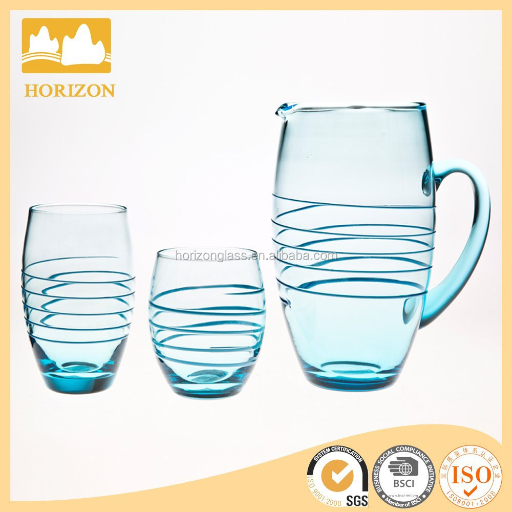 Mouth blown high quality coloured glass pitcher jug, glass water pitcher, clear glass water jug set